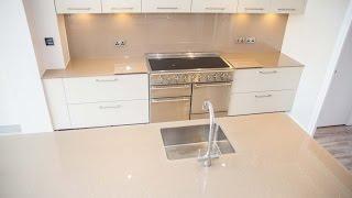 """""""Silver Sparkle"""" Glass Kitchen Worktop & Matching Splashback - CreoGlass"""