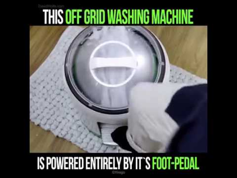 Off Grid Washing Machine Powered By Foot Pedal Youtube
