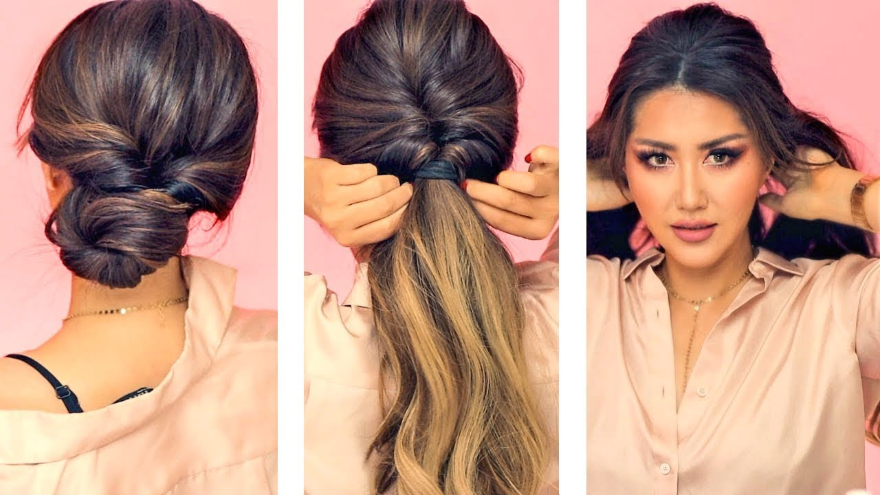 ☆ 1-min everyday hairstyles for work! 💗 with puff 💗 easy braids