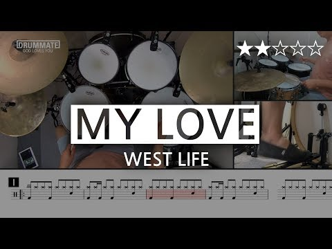 003 | My Love - West Life  (★★☆☆☆) | Drum Cover, Score, Sheet Music, Lessons, begginer | DRUMMATE