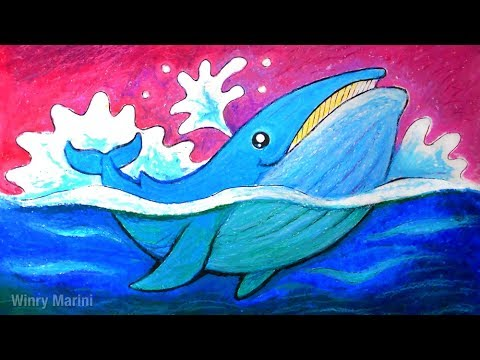 LET'S DRAW! A Blue Whale 🐳 With Oil Pastel