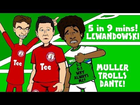 LEWANDOWSKI scores 5 goals in 9 minutes! (FC Bayern 5-1 Wolfsburg 🇩🇪Muller trolls Dante🇧🇷