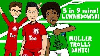 LEWANDOWSKI scores 5 goals in 9 minutes! (FC Bayern 5-1 Wolfsburg - Muller trolls Dante prank)