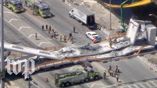 Live: Pedestrian bridge collapses at Florida university
