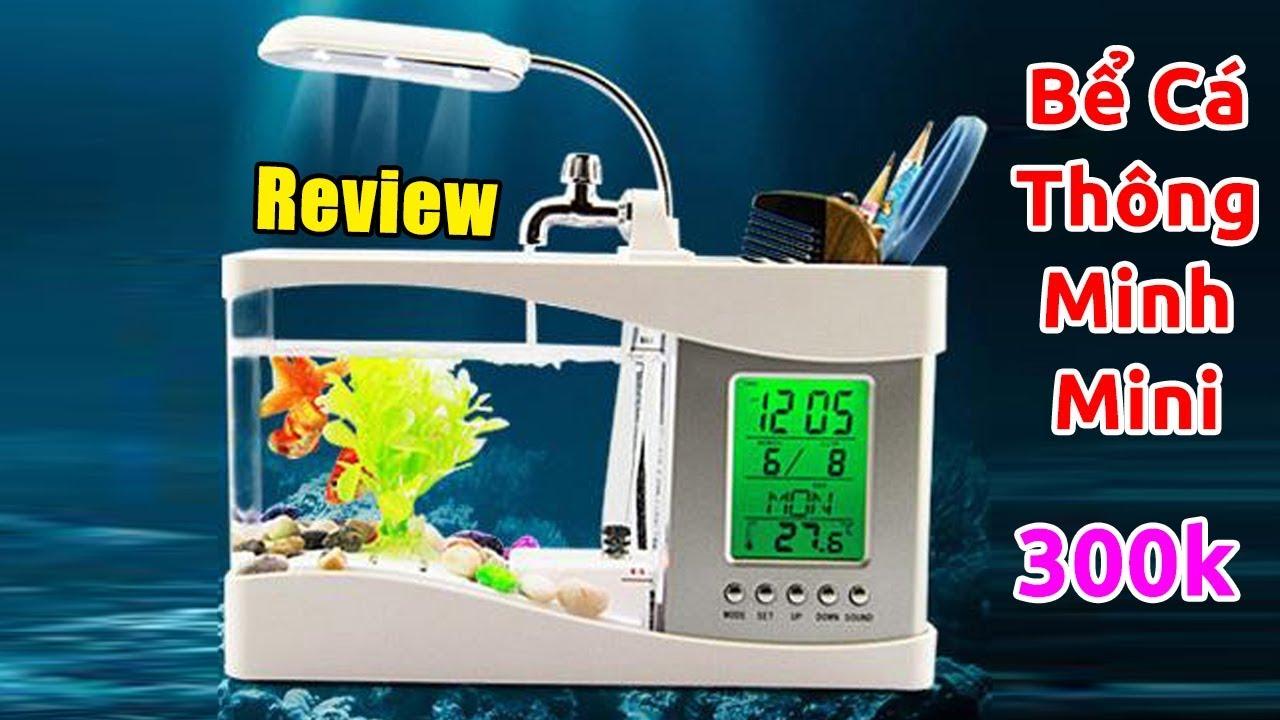 [11.11] Review bể cá thông minh mini 3 in 1 đồng hồ, đèn, lọc bơm trên Lazada