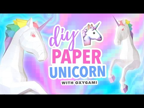 DIY Papercraft Unicorn Room Decor ~ OXYGAMI Pattern Tutorial | @karenkavett