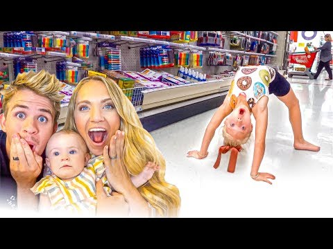 6 Year Old Everleigh Does Hilarious Flexible Gymnastics Moves In Target!!!