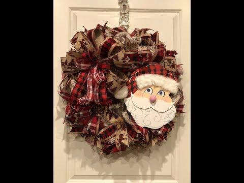 How To Make A Deco Mesh Ruffle Buffalo Plaid Santa Wreath