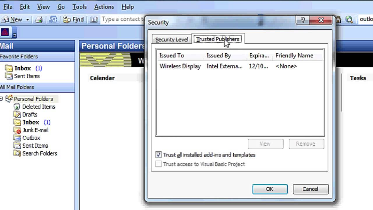 How to disable the microsoft office outlook security notice how to disable the microsoft office outlook security notice computer topics xflitez Image collections