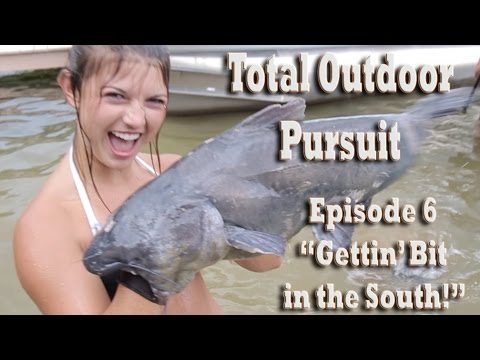 Noodling Giant Blue \ Flathead Catfish With Bare Hands! Total Outdoor Pursuit Episode 6