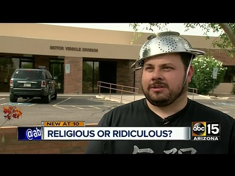 Valley man takes picture with strainer for religious reasons