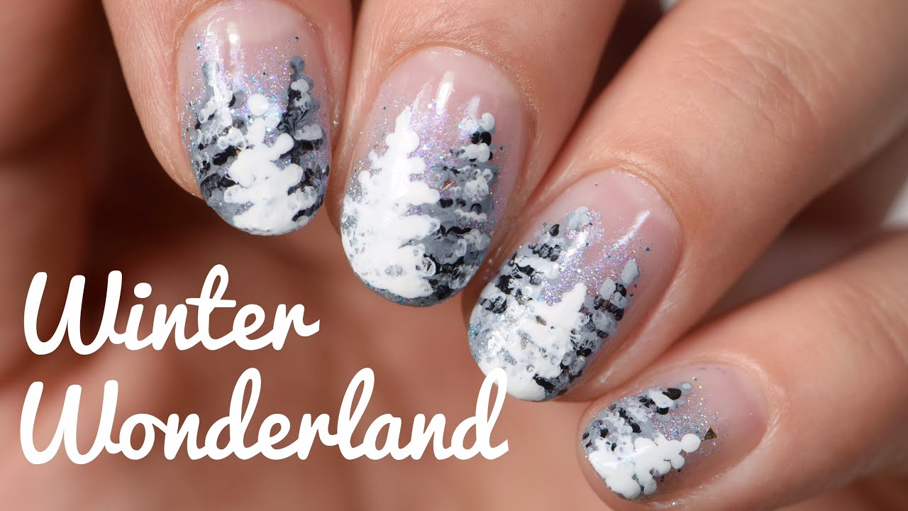 Easy Nail Art | Winter Wonderland | Snow Covered Trees - YouTube