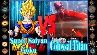 Super Saiyan Goku (Dragonball Z) vs Colossal Titan (Attack on Titan) - Ultimate Mugen Fight 2017
