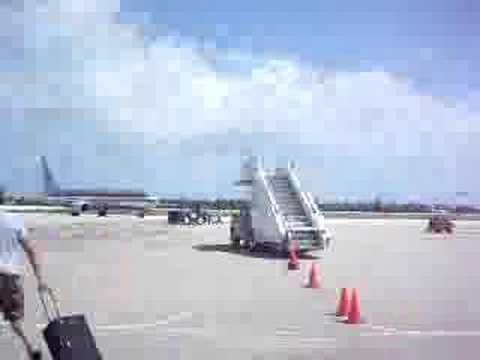 Grand Cayman Airport -getting out right before Hurricane Dean