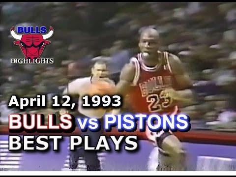 April 12 1993 Bulls vs Pistons highlights