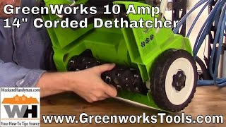 #GreenworksTools Electric Corded Lawn Dethatcher | Weekend Handyman