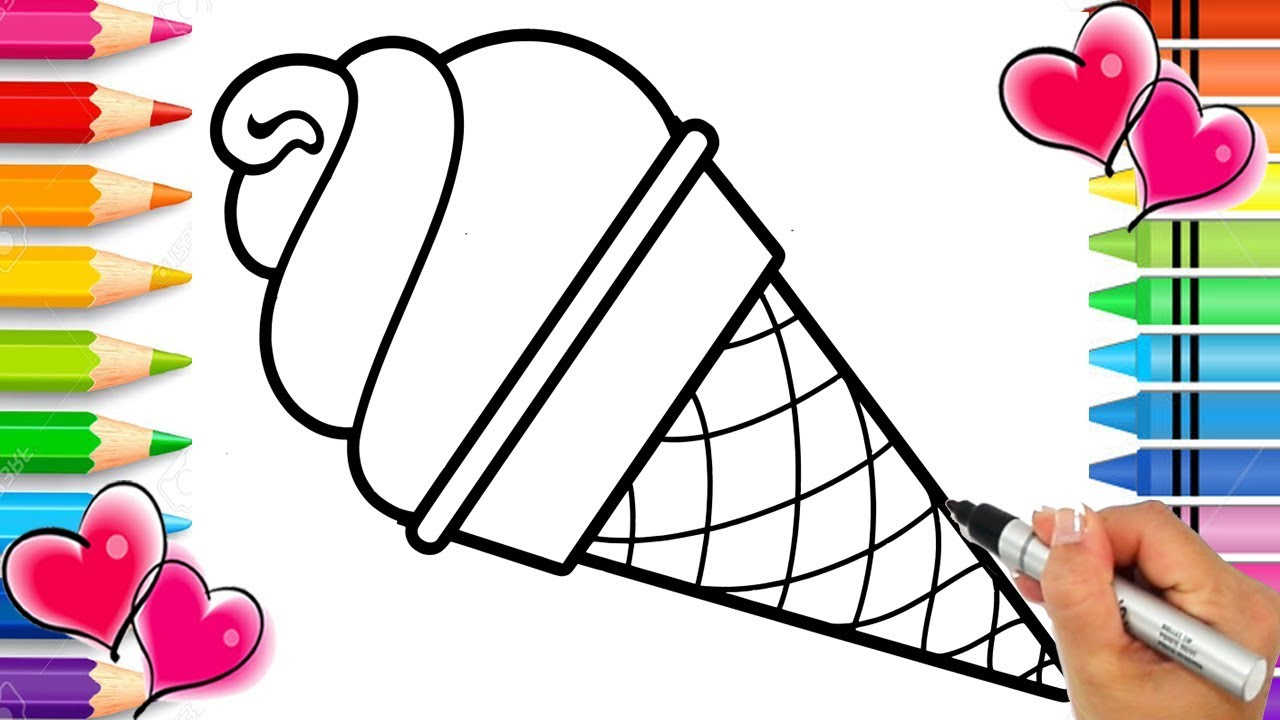 Rainbow Ice Cream Cone Coloring Page With Real Sprinkles Rainbow Coloring Book Printable Youtube