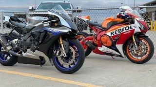 Honda CBR 1000RR vs Suzuki Hayabusa vs Yamaha R1M Drag Strip
