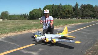 "B-17 Bomber Flying Fortress ""Fuddy Duddy"" ""Bit O Lace"" RC Flight Review with Pete in HD!"