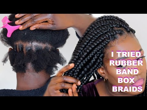 I TRIED RUBBER BAND BOX BRAIDS | HOW TO GRIP ROOTS BOX  BRAIDS Ft TOYOKALON