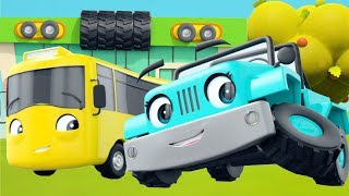 Buster's New Tires - Go Buster the Yellow Bus | 35 min of Nursery Rhymes & Cartoons | LBB Kids