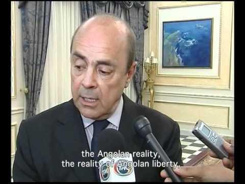 Pierre Falcone on Angola's public television at his visit to President José Eduardo dos Santos.