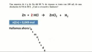 problema de reactivo limitante zn y hcl