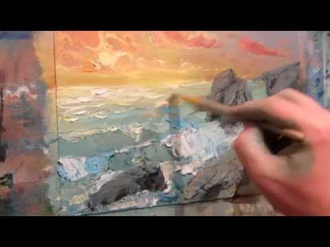 Marine oil painting. Surf. Part 2.
