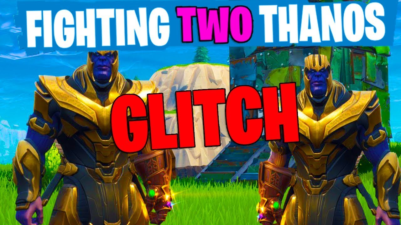 Fighting Two Thanos Glitch New Fortnite Marvel Update Youtube