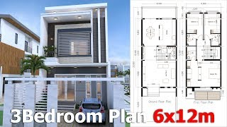 Video SketchUp 3 Story Modern Home Plan 6x12m with could build 3 to 5 Bedrooms download MP3, 3GP, MP4, WEBM, AVI, FLV Desember 2017