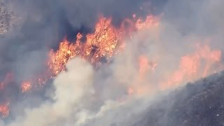 WILDFIRE: Raw video of air drops on California wildfire
