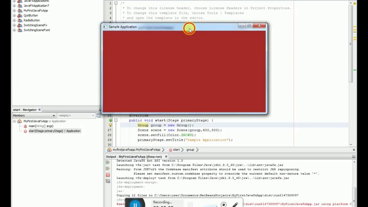 how to make a javafx application