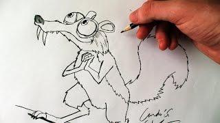 Como Desenhar o Scrat [Era do Gelo] - (How to Draw Scrat of Ice Age) - SLAY DESENHOS #119