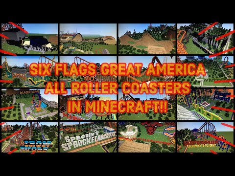 SIX FLAGS GREAT AMERICA ALL ROLLER COASTERS IN MINECRAFT!!