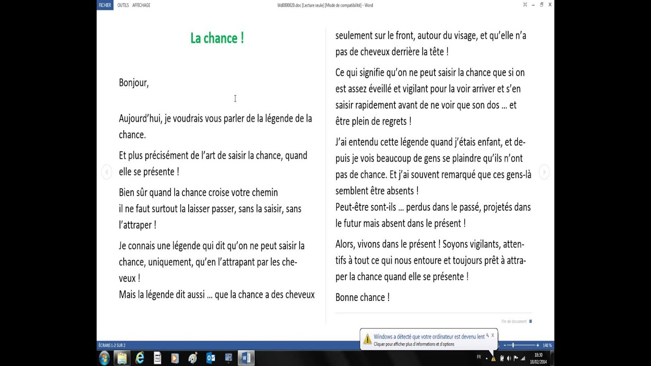Mini story in french with text : La chance - YouTube