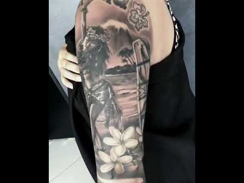 HAWAII THEME SLEEVE TATTOO - YouTube