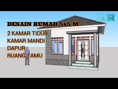 desain rumah minimalis 5x5 m - 2 kamar tidur - youtube