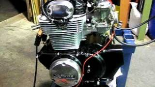 1972 Honda CB350 twin engine first run after rebuild.