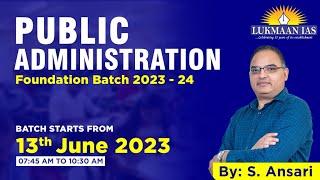 Public Administration Optional By S. Ansari   Class - 01   UPSC Mains CSE 2020