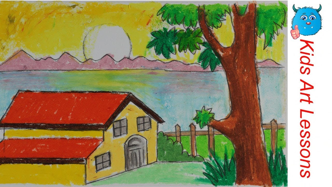 Easy Scenery Drawing How to Draw A Scene of Sunset with Bungalow