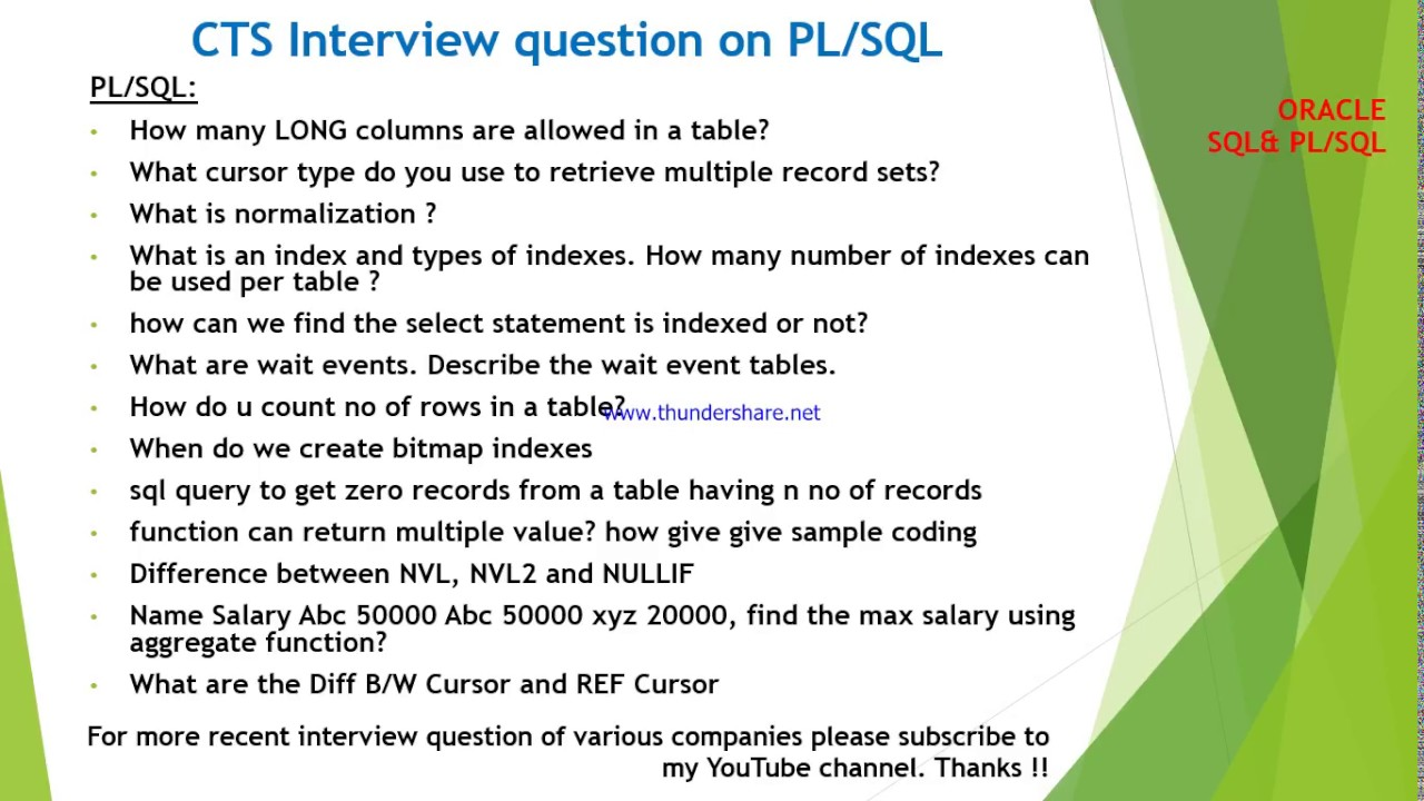 CTS interview questions on Oracle SQL and PLSQL