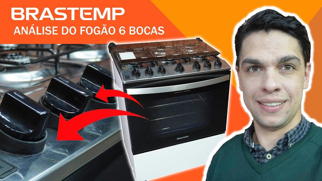 ANÁLISE / REVIEW FOGÃO BRASTEMP 6 Bocas BRANCO Com Botões Removíveis E Aro Protetor - BFS6NCB