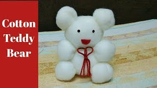 2 minutes cotton Teddy bear making // how to make cotton toy teddy bear //soft toy teddy making