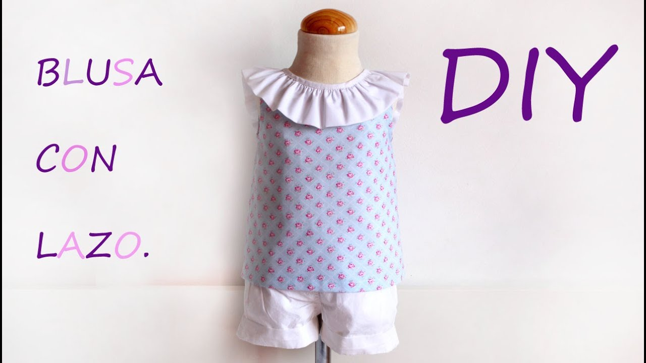 Blusa con lazo en escote. Como hacer una blusa de niña. - YouTube