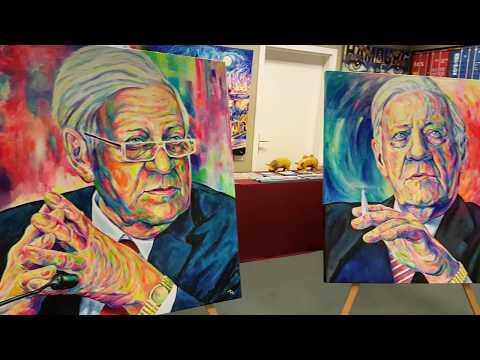 Drei Helmut Schmidt Pop Art Portraits in der Gallery MARGARITA Hamburg