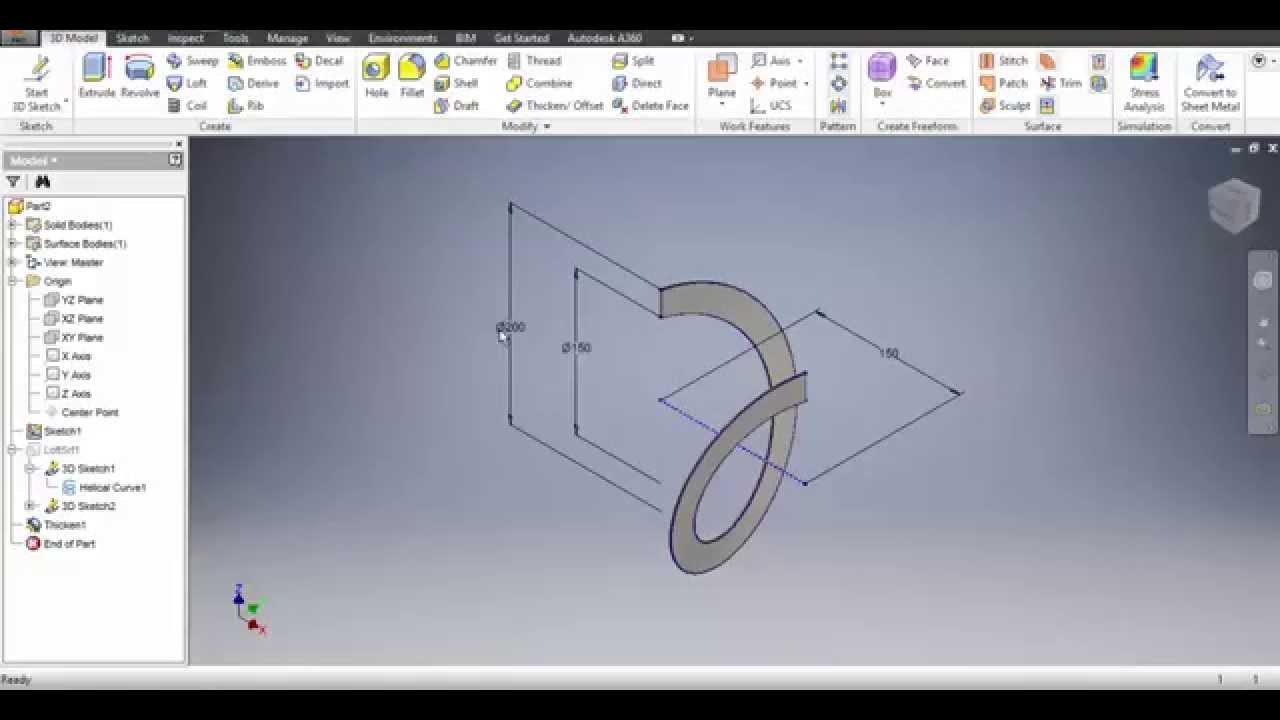Autodesk Inventor 2016 Spiral Amp Flat Pattern Youtube