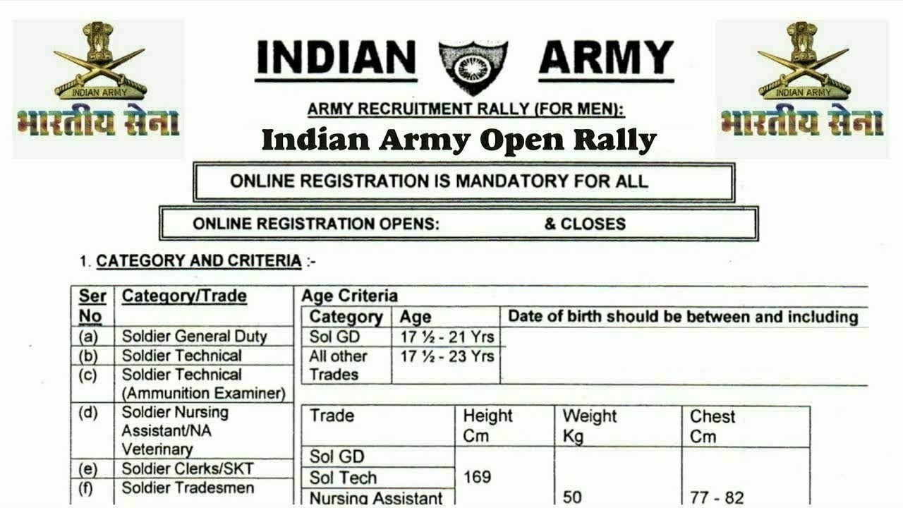 Indian Army Rally Bharti 2020 Open Rally Recruitment WB join Indian Army Latest Govt Jobs 2020