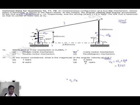 previous GATE problems of velocity analysis of 4-bar mechanisms