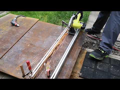 dickes Metall Eisen Stahl Blech Flacheisen schneiden trennen   mit Handkreissäge mit  Trennscheibe
