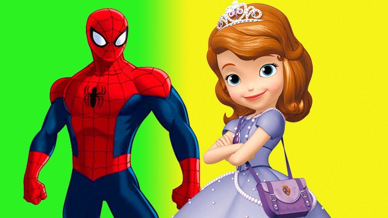 Spiderman Vs Sofia The First Vs Frozen Elsa Cloring Pages